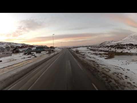 Bus route 1 in Hammerfest (17.11.2012) [HD]