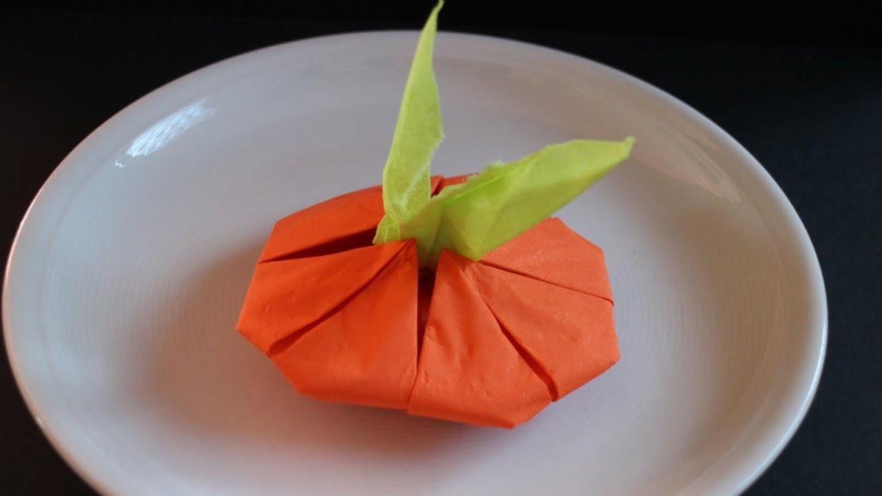 Napkin Folding Pumpkin Tabel Decoration For Fall Halloween And Birthday