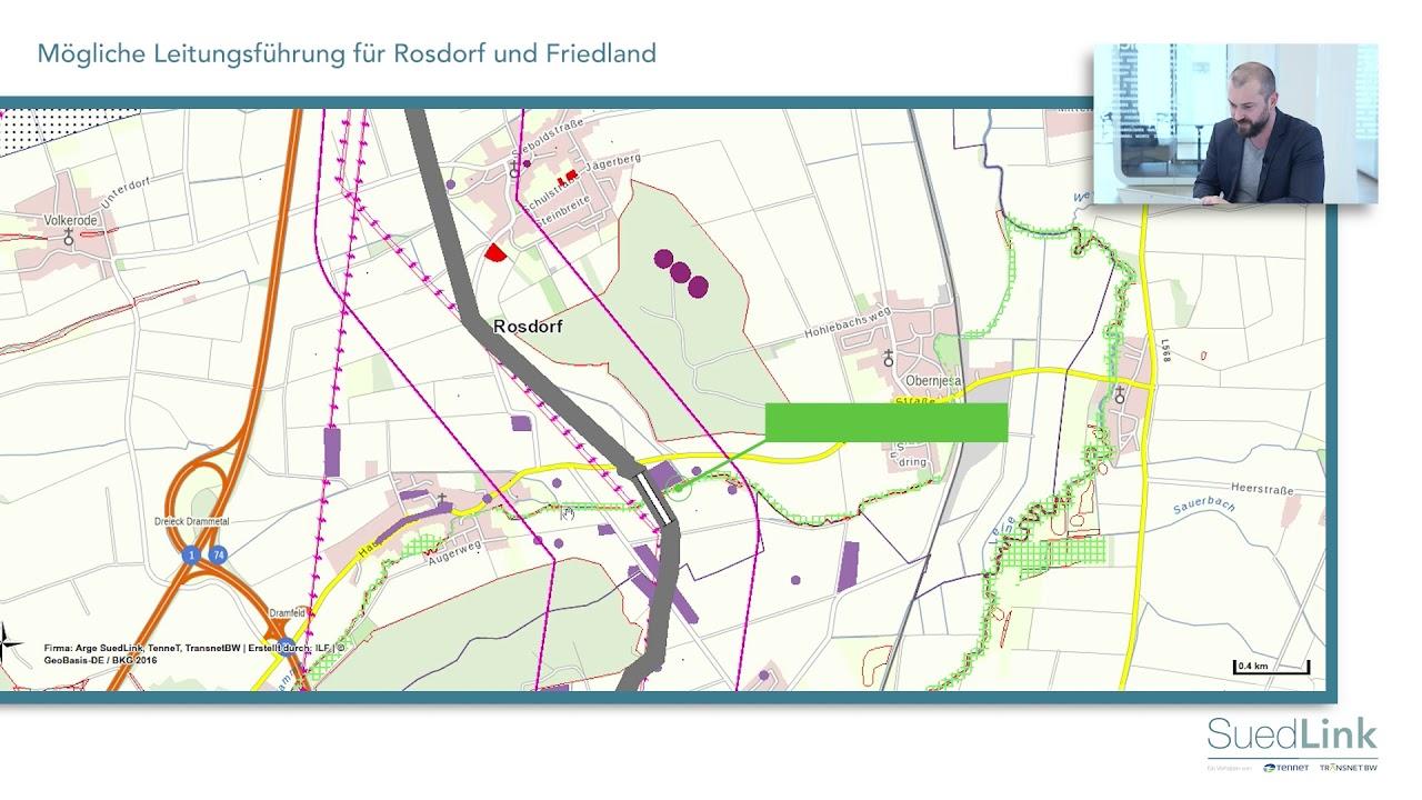 Suedlink Vorschlag Leitungsverlauf Rosdorf Friedland Youtube