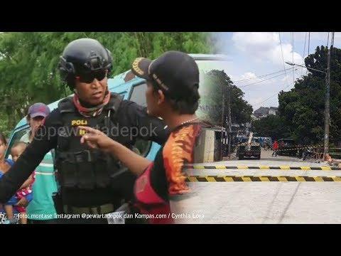 Oknum Ormas Lari Terbirit-birit saat Dibubarkan Tim Jaguar karena Tutup Jembatan di Depok