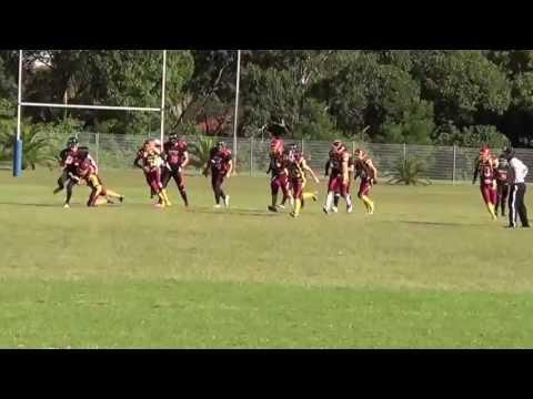 Josh Hayward tackling at safety, American Football (gridiron)