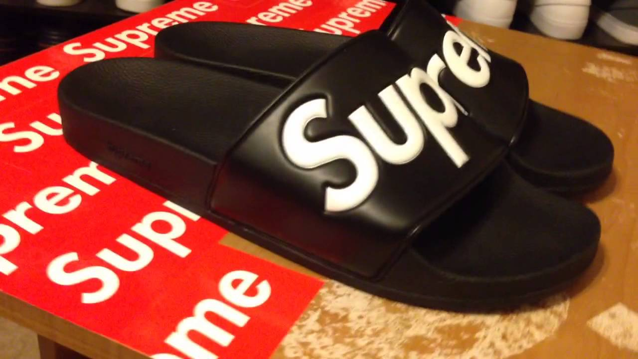 Supreme S/S 14 Black Sandals Review - YouTube