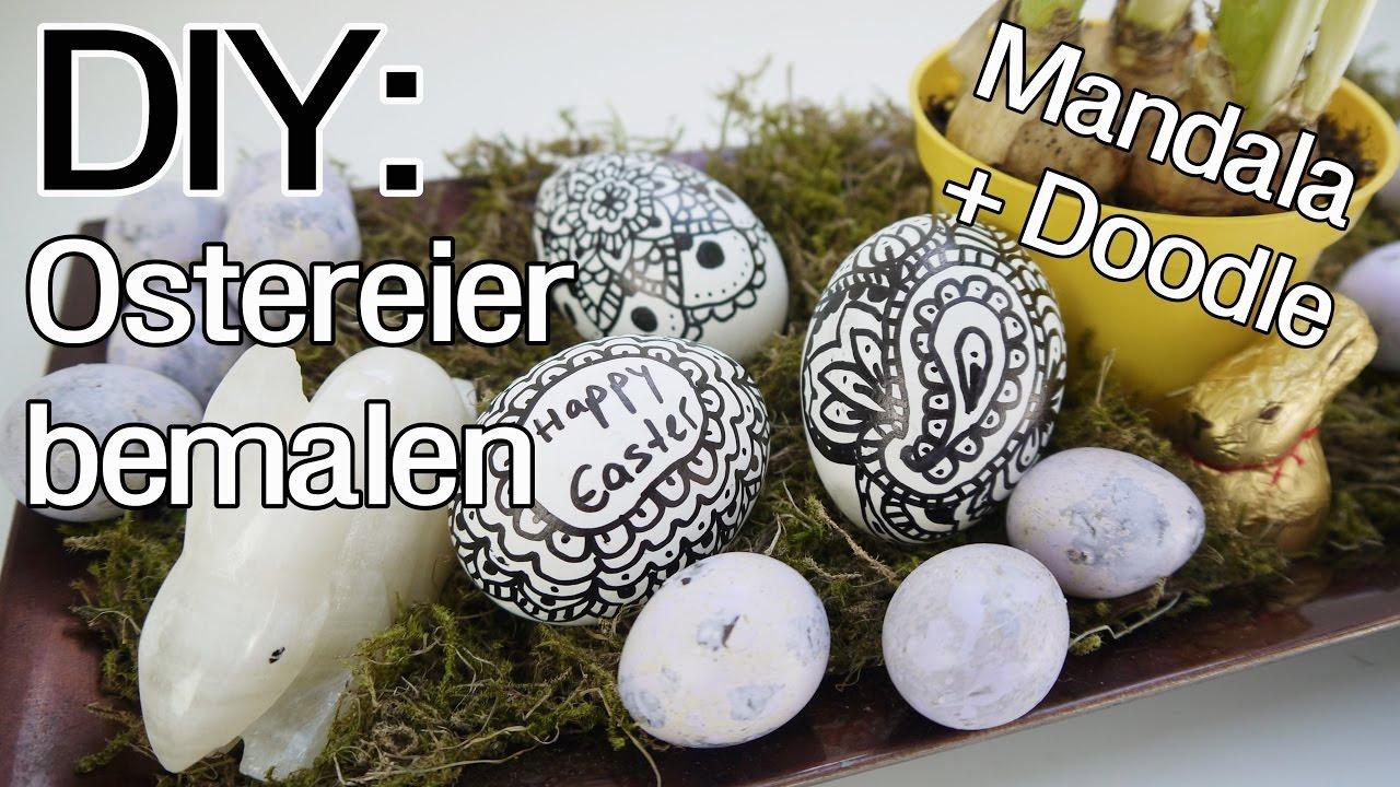 diy: ostereier bemalen | mandala und doodle | schwarz-weiß - youtube