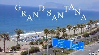 Пляж Отеля Grand Santana 4* Алания ТУРЦИЯ(Собственный песчаный пляж с пирсом. Пляж шикарен. Открытое море , свой пирс,большая территория пляжа, волейб..., 2016-09-13T05:16:47.000Z)
