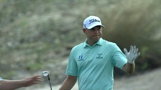Bill Haas peppers the flagstick at the Hero World Challenge