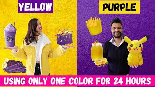 YELLOW vs PURPLE CHALLENGE 💜💛|| EATING & BUYING Everything In ONE COLOR For 24 Hours