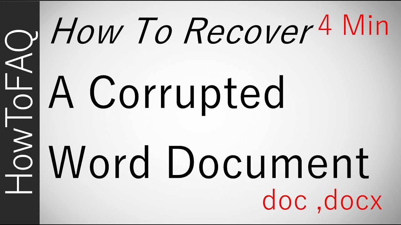 How to Recover a Corrupted Word File Document Repair Fix Extract Text  doc   docx