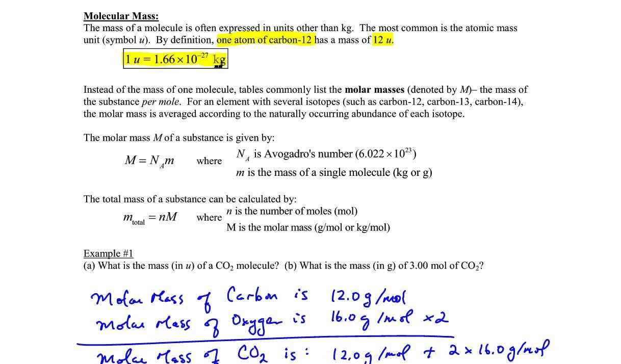 Chapter 14 Example 1 Molar Mass Moles Mass Youtube