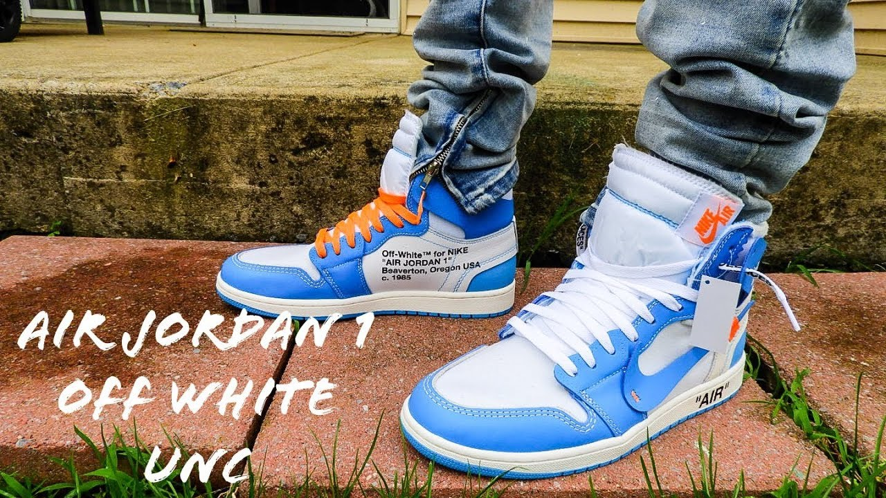 ef983963e24f57 Off White X Air Jordan 1 UNC On Feet Review!!!! - YouTube