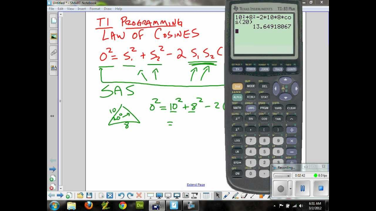 Pre Calculus Law Of Cosines Sas And Ti Programming