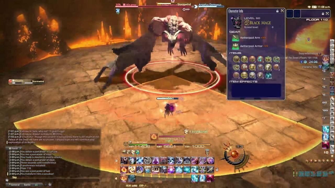FFXIV HC Solo - (BLM 4 0) PoTD Floor 110 Boss (Clear) - Angelus Demonus