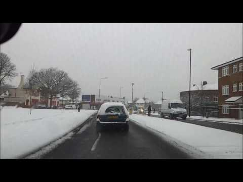 Driving from Sunbury to Feltham in the snow