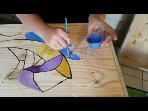DIY Fake Stained Glass on Wood