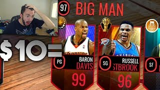 WE BUILT A 97 OVR LINEUP FOR ONLY $10 IN NBA LIVE MOBILE!!