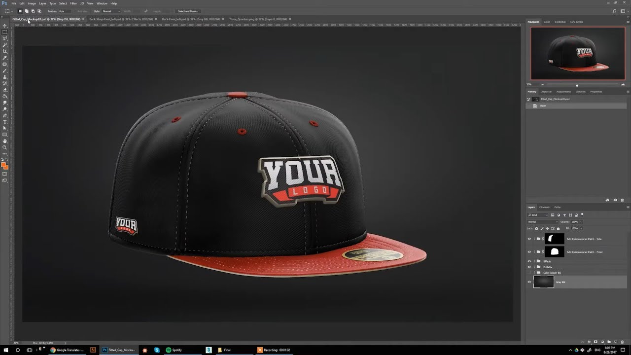 Fitted & Snapback Hat Mockup