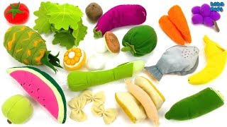 Learn Names of Fruits and Vegetables with Plush Toys| Learning fruits vegetables
