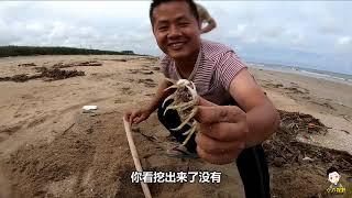 小小六看到螃蟹就來勁,尾隨小六拉都拉不開,搞野並不比爸爸差