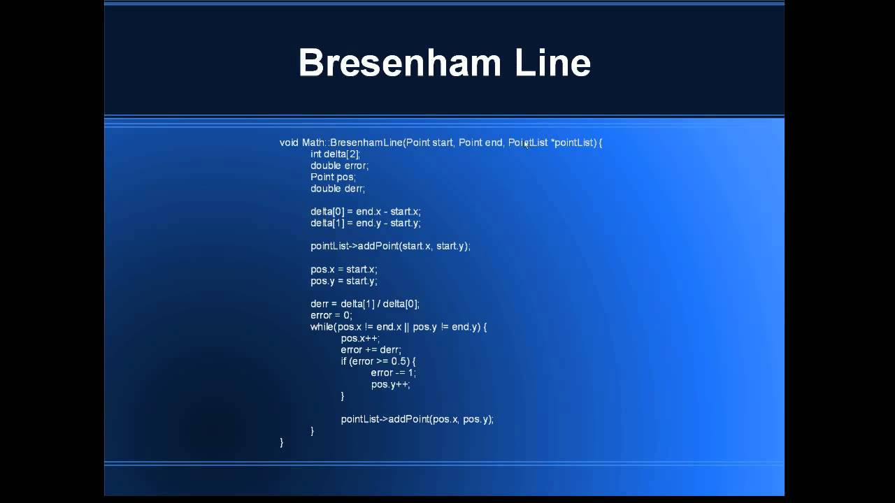 Line Drawing Algorithm Graphics : Bresenham line math youtube