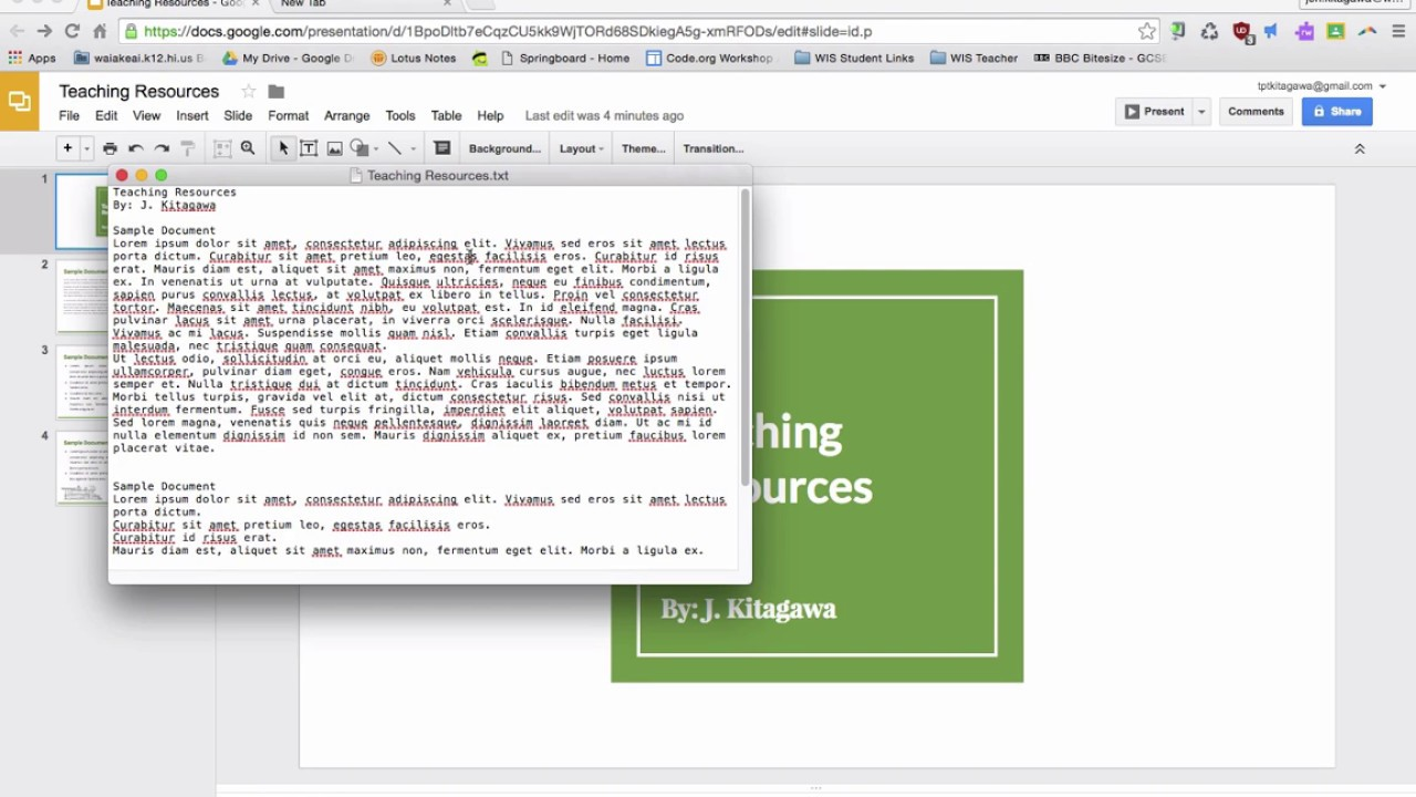how do i find the word count in my google slides presentation