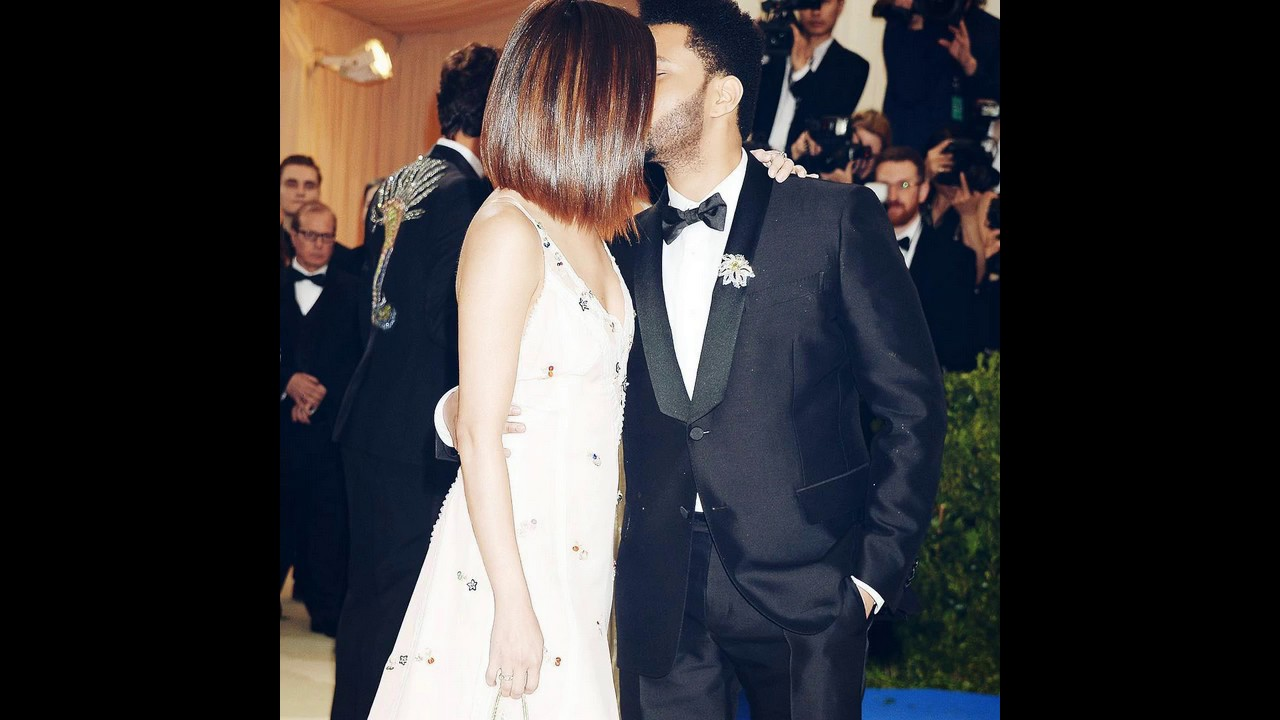 The Weeknd and Selena Gomez kissing at Met Gala