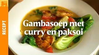 Gambasoep met curry en paksoi