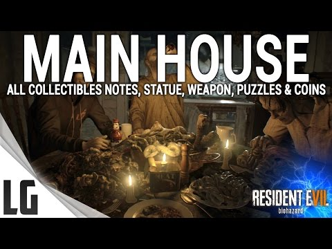 Resident Evil 7 - Main House Collectibles Guide (Shotgun, notes, statues, antique coins & More)