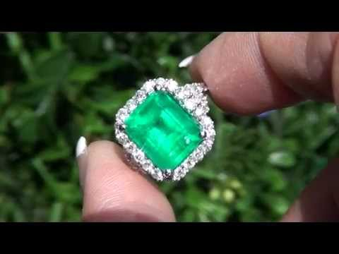 Estate 6 36 Carat Natural Colombian Emerald Diamond Ring