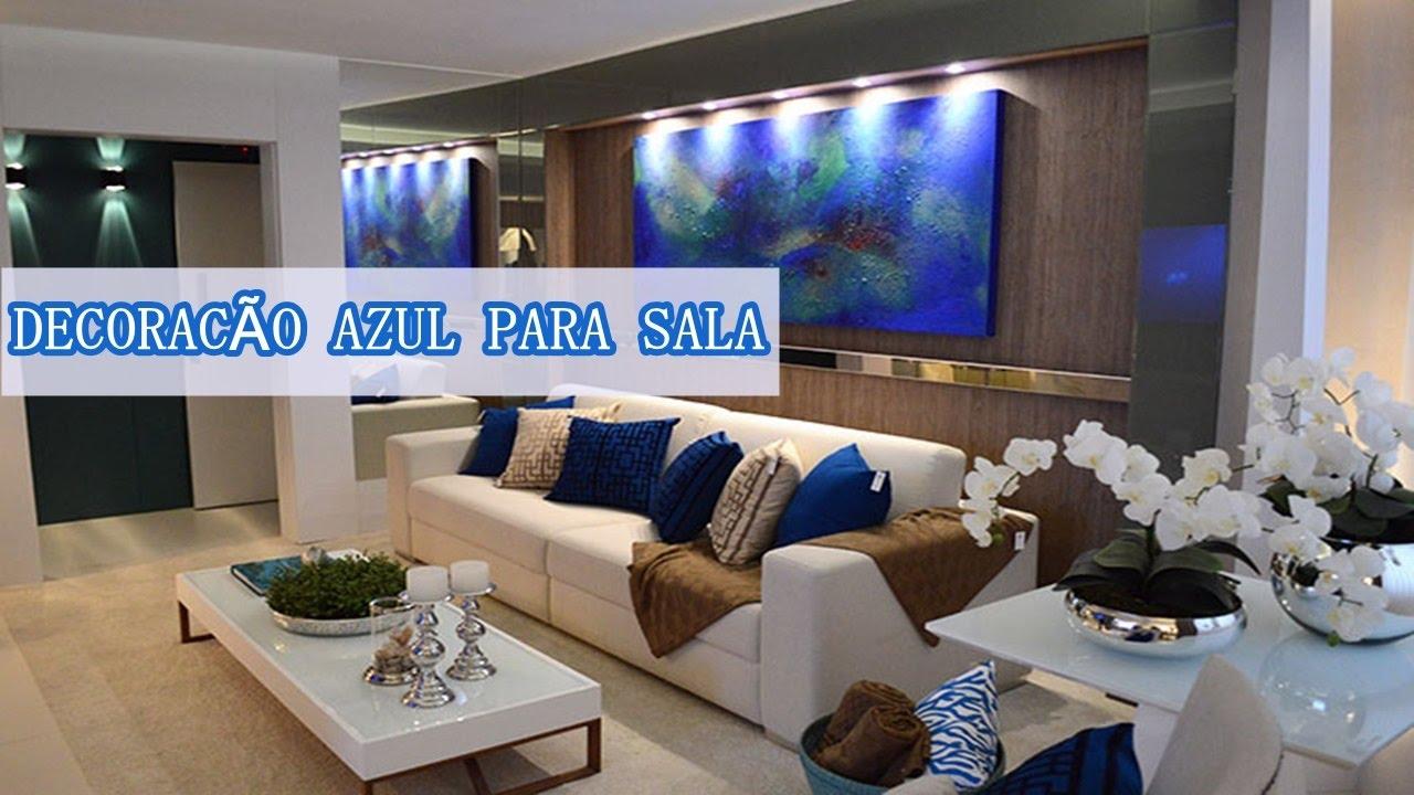 Sala Branca E Azul Download Interior Branco Da Sala De Visitas Com  -> Decoracao De Sala De Tv Com Sofa Azul