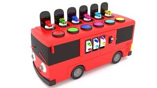 Learn Colors for Children to Learn with Bus Transporter Toy Trucks Street Vehicles Videos for kids