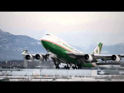 Eva Air Cargo Boeing 747-400(BDSF) [B-16407] takes off from Anchorage