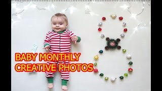 Baby Monthly Photos at home new  creative ideas  детские месячные фото дома