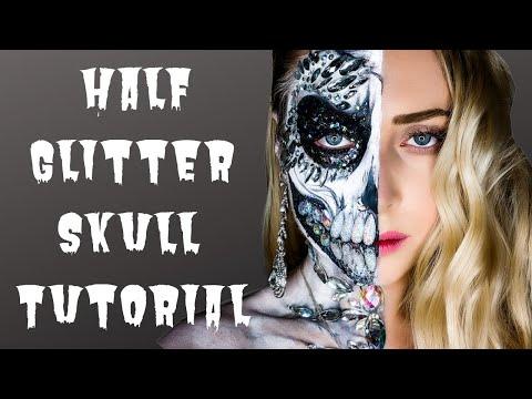 Half Glitter Skull Halloween | MAKEUP TUTORIAL thumbnail