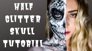 Half Glitter Skull Halloween | MAKEUP TUTORIAL