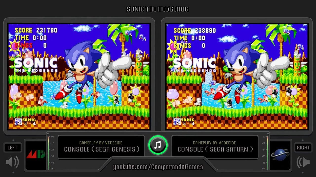 Sonic The Hedgehog Sega Genesis Vs Sega Saturn Side By Side Comparison Youtube