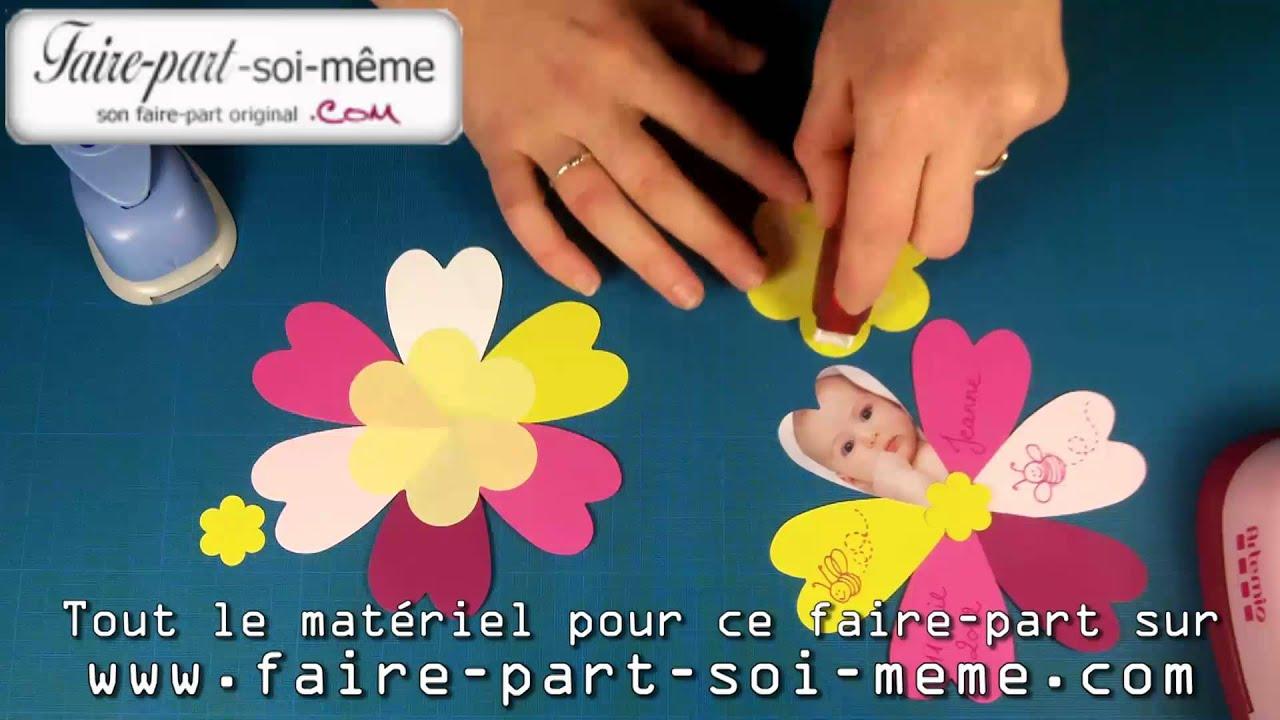 Souvent Faire-part de naissance Fleur de Coeurs - YouTube ED38