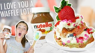 Nutella Valentine Waffles! | Kids Cook Yummy Food