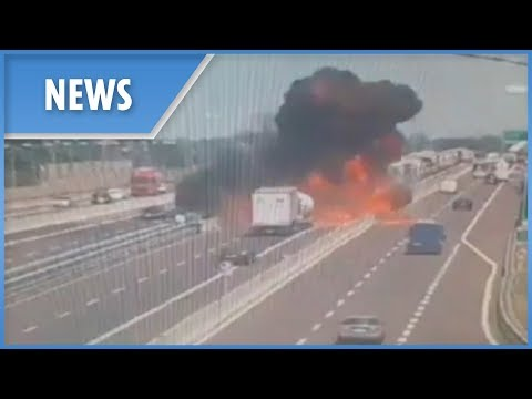 Bologna explosion: CCTV of the crash