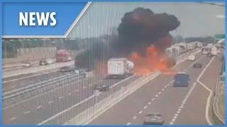 Bologna explosion: CCTV of the crash