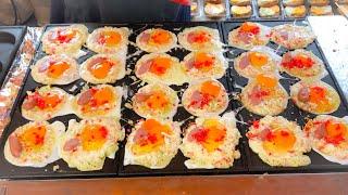 japanese street food - OSAKA YAKI (osaka version of okonomiyaki)
