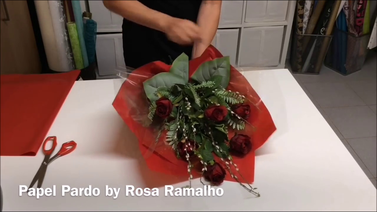 Roses Tied Wrapped With Tissue Paper Wrapflowers Youtube