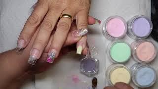 Short pastel square nails
