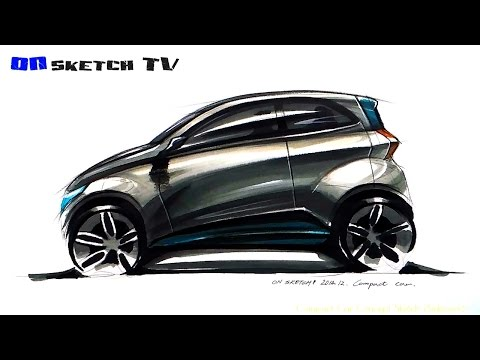 """온스케치 TV Sketch - """" Compact car Concept sideview Sketch (Color Pencil+AD Marker)"""""""