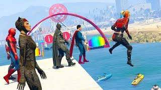 Superheroes THE AWESOME EVENT - EXTREME OBSTACLE RACES (GTA 5 Funny Superhero Contest)
