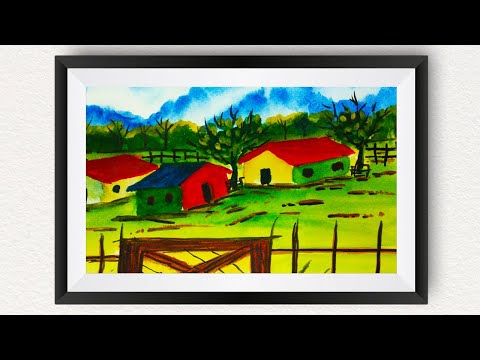 Easy landscape watercolor painting for beginners | How to draw house for kids step by step tutorial