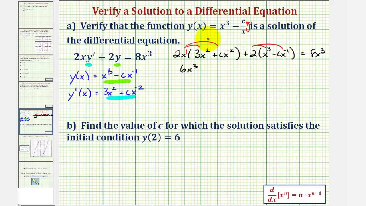 Ex: Verify a Solution to a Differential Equation and Find a Particular  Solution