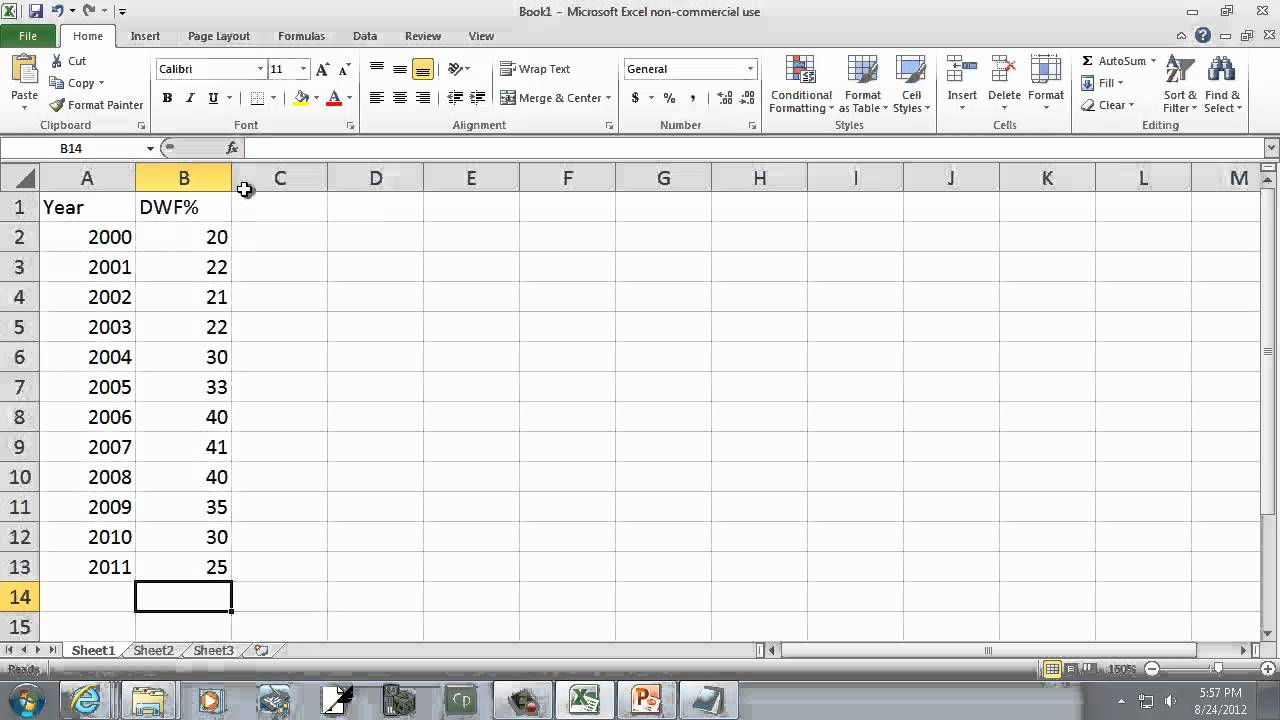 Excel 2010 Creating A Time Series Plot Youtube