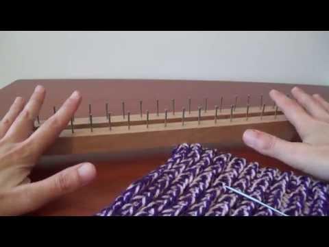Tutorial facile sciarpa scaldacollo punto inglese telaietto rettangolare per lana - Knitting loom