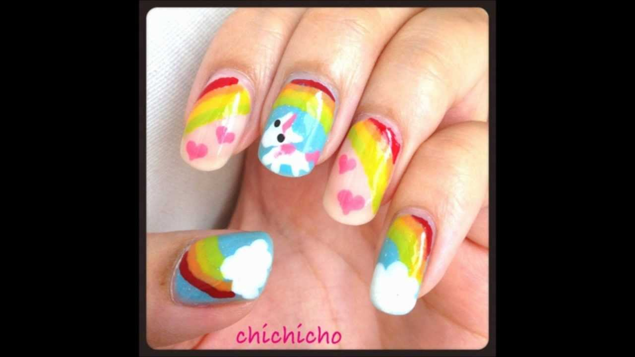 Unicorn nail art tutorial youtube prinsesfo Image collections