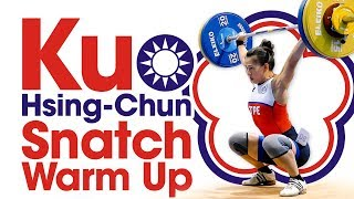 Kuo Hsing-Chun Snatch Warm Up Area 2017 World Weightlifting Championships Part 1 of 2