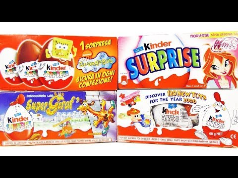 Раритет Киндер Сюрприз #19! ГУБКА БОБ, Клуб Винкс Winx, СуперЖирафы! Kinder Surprise eggs unboxing